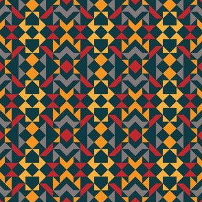 Tribal Triangles Quilt - vivid colours on blue background. Warm colours red and yellow tones