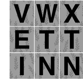 Alphabet 4 in  Letters Black Gray