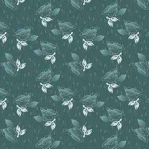 Ditsy Spring Mint Vintage Poppy Dark