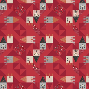 Geometric RED House Quilt Ditsy Flowers