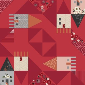 MICRO HOUSE FAUX QUILT IN RED with Ditsy Flowers & RED FOX—MODERN QUILT ART by Clarky Works