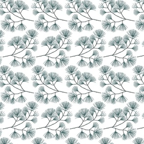 pine and mint bough repeat on white