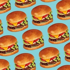 Cheeseburger Pattern 4 - Blue