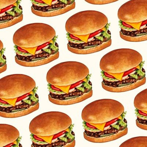 Cheeseburger Pattern 4 - White