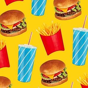 Burger, Soda & Fries Pattern - Yellow