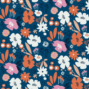 Floral Play - Blue, Pink, Orange