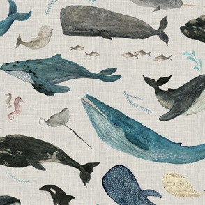 Whale song blue on gray