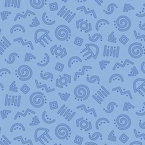 Doodle Dots and Dashes - Blue outline