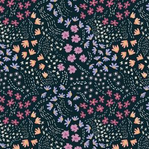 Flowers on the Summer Wind - Dark Background