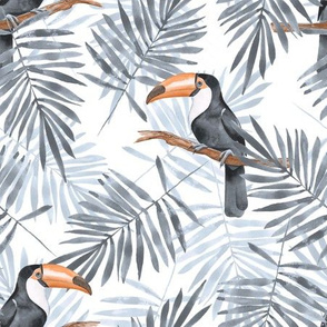 Palm leaves and Toucan. Gray