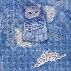 Denim and lace with cute kittens