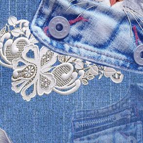 large kittens in jean pockets on denim