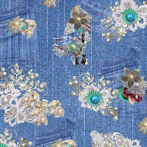 costume jewelery_ jeanpockets and lace on blue denim