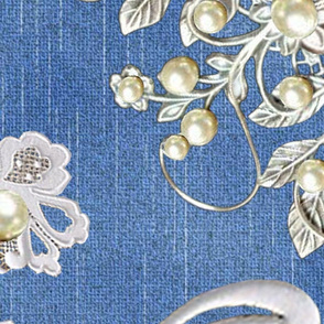 white lace and ivory pearls on blue denim
