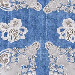 Flower lace on Blue Denim texture