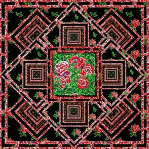 Rose embroidery cheater quilt
