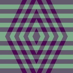 JP6 - XL  -  Buffalo Plaid Diamonds on Stripes in Royal Purple and Ocean View Green Pastel