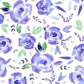 Amethyst watercolor roses ★ purple painted florals for modern violet home decor, bedding, nursery