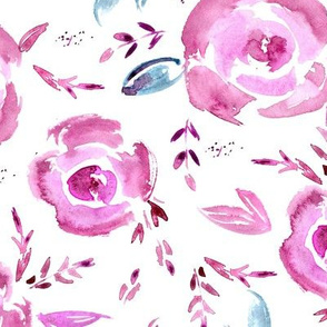 Pink roses dream ★ watercolor flowers for modern home decor, bedding, nursery