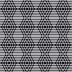 JP23 - Buffalo Plaid Diamonds on Stripes in Charcoal and Light Grey