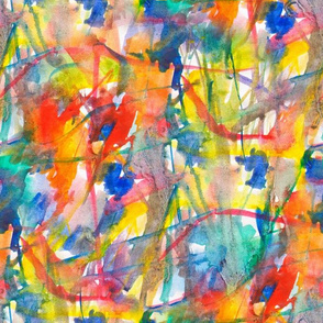 Bright watercolor abstraction in warm shades