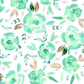Emerald roses ★ watercolor florals for modern home decor, bedding, nursery