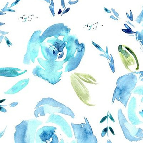 Large scale blue roses - watercolor painted flowers for modern home decor, bedding, nursery
