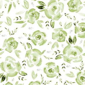 Khaki watercolor roses for modern scandi home decor, bedding, nursery