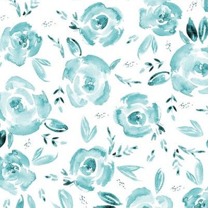 Aquamarine watercolor roses ★ painted tonal scandi florals for modern home decor, bedding, nursery
