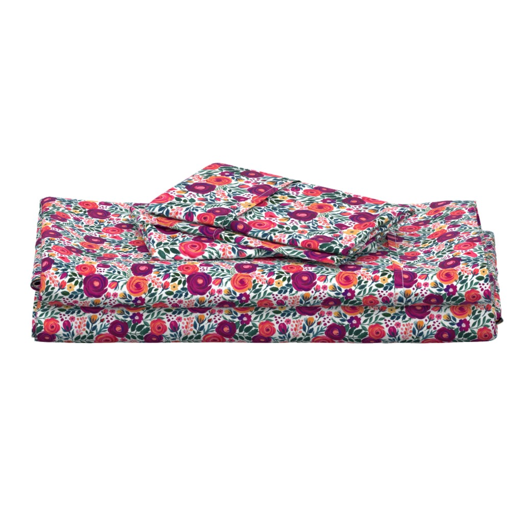 Langshan Full Bed Set featuring Ditsy Roses Small by jill_o_connor
