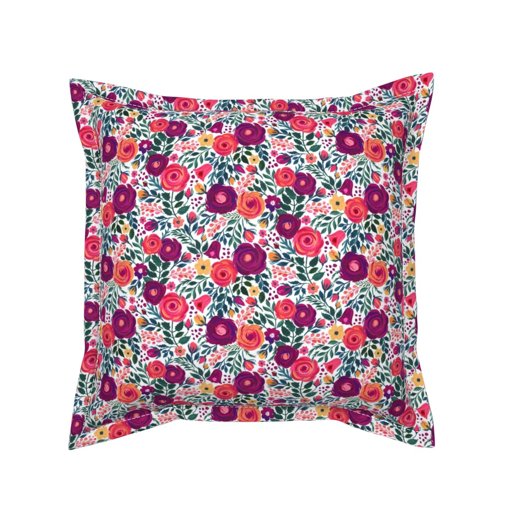 Serama Throw Pillow featuring Ditsy Roses Small by jill_o_connor