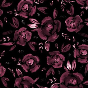 Burgundy on black roses - hand painted flowers 259