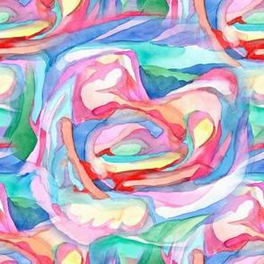 Abstract watercolor hearts