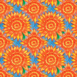 Bright large orange flowers on a blue background