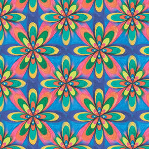 Hand painted big colorful flowers on a blue background