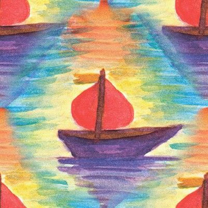 Toy boat with a red sail