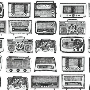 Retro Radios Black and White Vintage Vibes, Rose Red Old Times