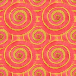 Red watercolor spirals with a yellow outline
