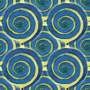 Dark blue spirals with a yellow accent