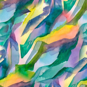 Watercolor abstraction in blue color with yellow highlights