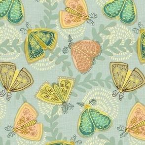 vintage moths pastel medium scale
