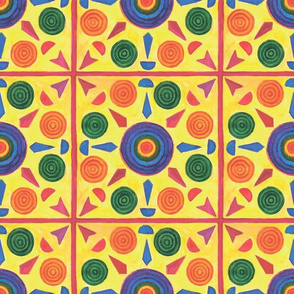 Colorful geometric pattern on a yellow background