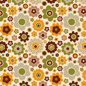 Funky Retro flowers 70s ditsy moss green cream Fabric