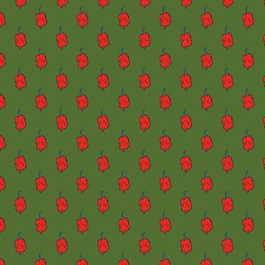 Carolina Reaper Orange Polka Dot on Olive Green - Medium