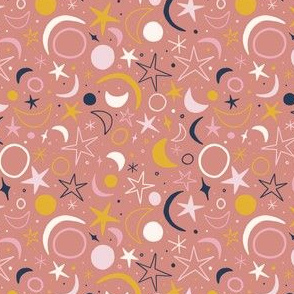 Modern Starry Night Sun Moon and Stars Ditsy