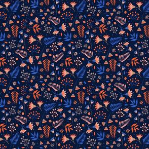 orange and blue flowers