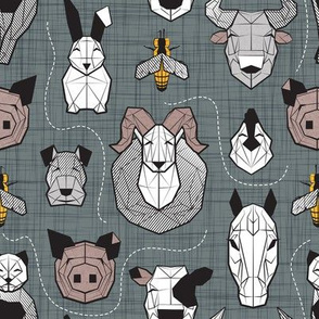 Small scale // Friendly Geometric Farm Animals // green grey linen texture background