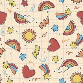 Ditsy Retro School Dayz // whimsical rainbows stars hearts lightning small scale fabric