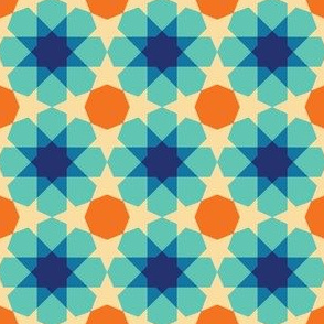 Blue Orange Geometrical Pattern, Calm Tile