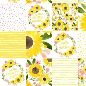 sunflower fields happy cheater quilt